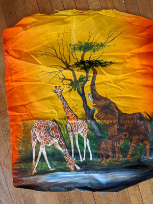 A painting of two giraffes and two elephants by some water. One of the giraffes is having a drink. They are in front of a yellow, orange and red background