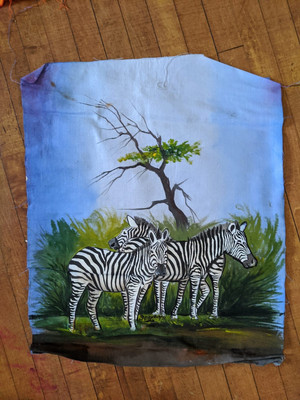 A painting of three zebras, in front of green foliage and a blue sky background