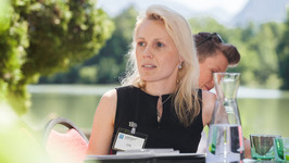 Liis Kasemets on the Schloss Terrace during the sixth meeting of the Public Sector Strategy Round Table