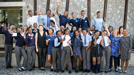 Students from Thabo Secondary School outside the Johannesburg Holocaust & Genocide Centre Picture: Catherine Boyd